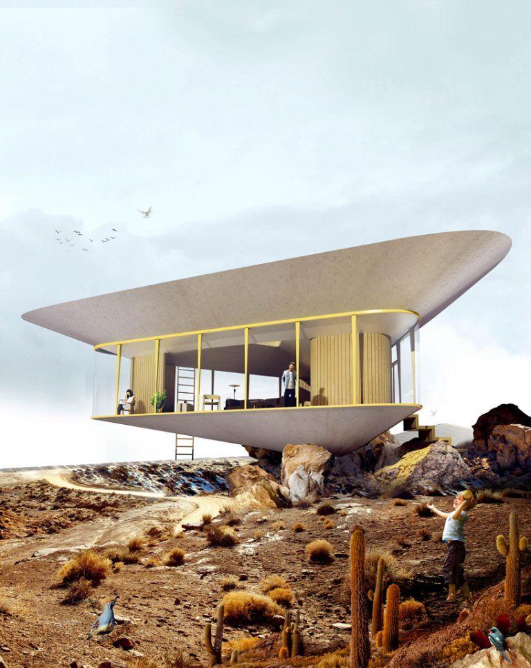 Κατασκευή πισίνας στην αντεστραμμένη σκεπή εξοχικής κατοικίας